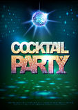 Disco ball background. Disco poster cocktail party. Neon Royalty Free Stock Image