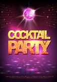 Disco ball background. Disco poster cocktail party. Neon Royalty Free Stock Photos