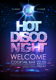 Disco ball background. Disco poster hot night. Neon Stock Images