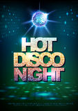 Disco ball background. Disco poster hot night. Neon Stock Image
