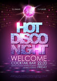 Disco ball background. Disco poster hot night. Neon Royalty Free Stock Photo