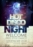 Disco ball background. Hot disco night party poster on open spacDisco ball background. Hot disco night party poster on open space. Disco ball background. Hot vector illustration