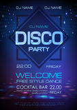 Disco ball background. Neon sign disco party poster. Disco ball background. Neon sign disco party stock illustration
