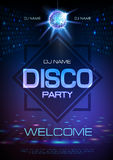 Disco ball background. Neon sign Disco party poster. Disco ball background. Neon sign Disco party vector illustration