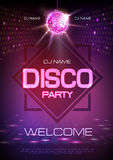 Disco ball background. Neon sign Disco party. Poster royalty free illustration