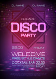 Disco ball background. Neon sign disco party. Poster stock illustration