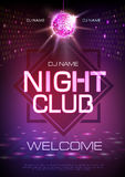 Disco ball background. Neon sign night club. Poster stock illustration