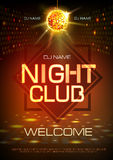 Disco ball background. Neon sign night club poster. Disco ball background. Neon sign night club royalty free illustration