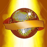 Disco ball with banner on glowing background Royalty Free Stock Photography