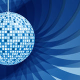 Disco ball blue on abstract background. Disco ball in blue with sparkles set on an elegant blue abstract background Stock Photography