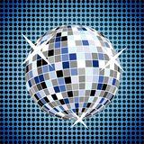 Disco ball on blue background Stock Images
