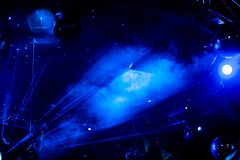 Disco ball with blue bright rays, night party background. Photo royalty free stock images