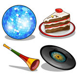 Disco ball, cake, vinyl disc and tube. Retro style Royalty Free Stock Images