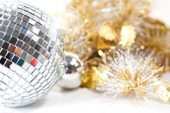 Disco ball with christmas decoration Royalty Free Stock Image