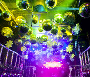 Disco ball in Christmas at nightclub. Colorful lights and disco balls decorations for Christmas at nightclub Stock Images