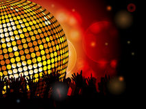 Disco ball and crowd. Glowing disco ball and crowd background with glowing lights Stock Photos