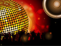 Disco ball and crowd with speaker Stock Photos