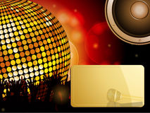 Disco ball and crowd with speaker and message Stock Photos