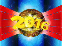 Disco ball 2016 on 3D environment. Disco Ball with 3D 2016 on Glowing Striped Environment Stock Images