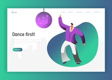Disco Ball Dancer Character Landing Page. Retro Dance Man Lifestyle. Nightlife Fever Concept for Website or Web Page. Evening Club Event. Flat Cartoon Vector stock illustration