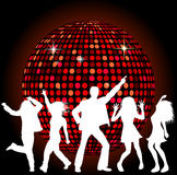 Disco Ball and dancing People Royalty Free Stock Image