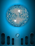 Disco ball with dial on blue metallic portrait background Royalty Free Stock Photos