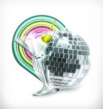 Disco ball and drink Stock Images