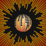 Disco Ball and Equalizer Background. Red, Orange and Yellow Disco Ball and Equalizer Background Stock Image