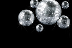 Disco ball. And evening ornaments with lights royalty free stock photo