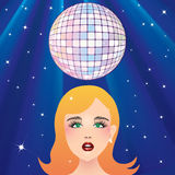 Disco ball and the girl's face. Disco ball and the girl's face against the background of stars and rays vector illustration