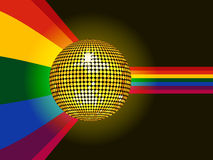 Disco ball glowing over rainbow background Stock Photo