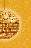 Disco ball gold. Disco ball in gold with rays and sparkles in the background vector illustration