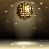 Disco ball. Gold disco ball on dark background stock illustration