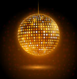 Disco ball. Golden glowing disco ball made of star shapes Stock Images