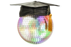 Disco ball with graduation cap, 3D Stock Photos