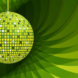 Disco ball green on abstract background. Disco ball in green with sparkles set on an elegant green abstract background vector illustration