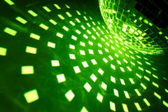Disco ball with green illumination Stock Photography