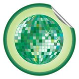 Disco ball green sticker Stock Image