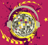 Disco ball with headset.Colorful splash Stock Photos