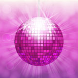 Disco ball isolated on bokeh background. Disco ball isolated on gradient background with light cloudy circles like bokeh effect and rays Stock Images