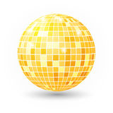 Disco ball isolated illustration. Night Club party light element. Bright mirror golden ball design for disco dance club. Royalty Free Stock Images