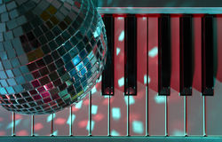 Disco ball and keyboard Royalty Free Stock Photography