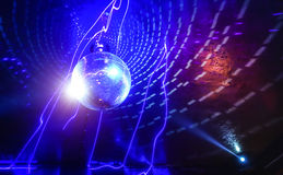 Disco ball laser show in modern disco party night club Stock Images