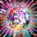 Disco ball. With light and color background royalty free stock images