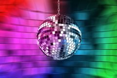 Disco ball with lights. Retro party background Vector Illustration