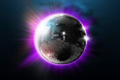 Disco ball with lights. Retro party background Royalty Free Stock Photos