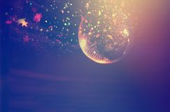 Disco ball with lights and confetti. Party background stock photography