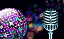 Disco ball with microphone Stock Photos