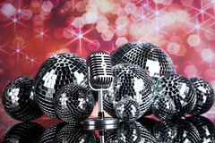 Disco Ball, Microphone and Music background Royalty Free Stock Photos