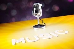 Disco Ball, Microphone, music saturated concept Stock Image